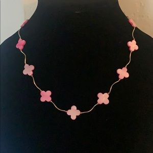 Jewelry - Pink and Gold Clover Necklace